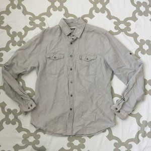 Express Mens Size Medium 15-15.5 Fitted Gray